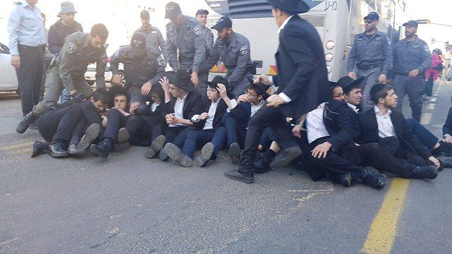 Ultra-Orthodox men in Bnei Brak protesting against the Haredi draft, December 2018