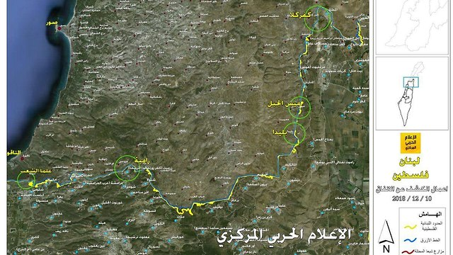 Map elaborating exact locations where IDF forces are working