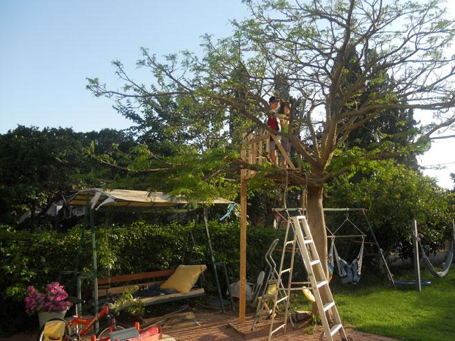 נורית ועידו על בית העץ בחצר הבית (צילום: אלירן אורן)