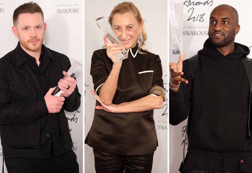 בין הזוכים: המעצבים וירג'יל אבלו, מיוצ'ה פראדה וקרייג גרין (צילום: Mike Marsland/BFC/Gettyimages)