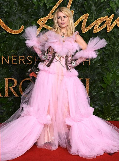 הזמרת פלומה פיית' בשמלת טול ורודה של דילארה פינדיקוגלו  (צילום: Jeff Spicer/BFC/Gettyimages)
