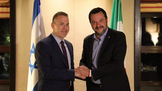 Gilad Erdan and Matteo Salvini (Photo: Yossi Zamir)
