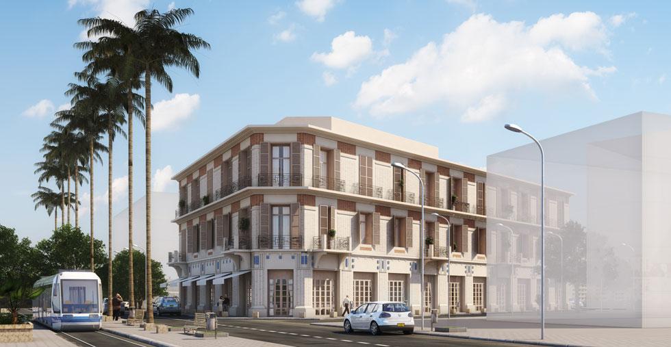 הדמיית המלון של ''ישרוטל'' בשדרות ירושלים ביפו. אמור להיחנך ב-2021, ממש כמו הרכבת הקלה שתחלוף למרגלותיו (הדמיה: טוטם)