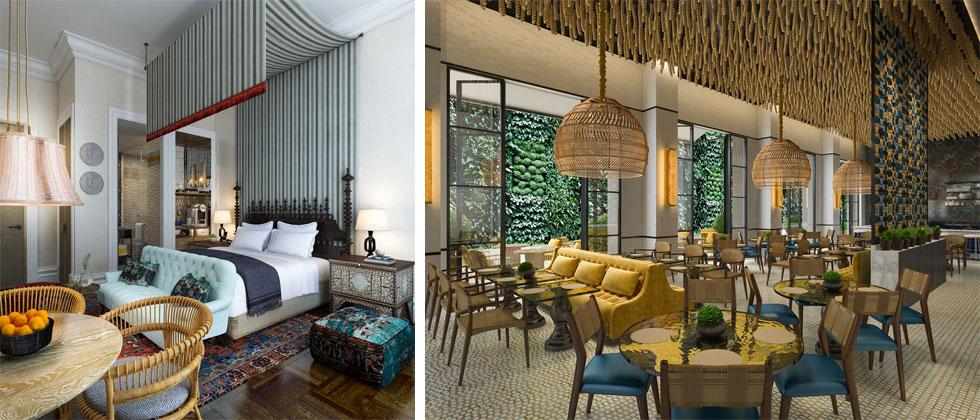 דוגמאות מתוך תוכנית העיצוב של המלון, שעליה מופקדת אינגה מור, מי שעיצבה גם את ''אוריינט'' הירושלמי של רשת המלונות הגדולה (הדמיה: inga moore)