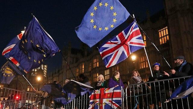 הפגנה מתנגדי הברקזיט בבריטניה (צילום: AFP)