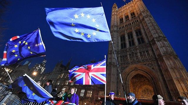 הפגנה מתנגדי הברקזיט בבריטניה (צילום: EPA)