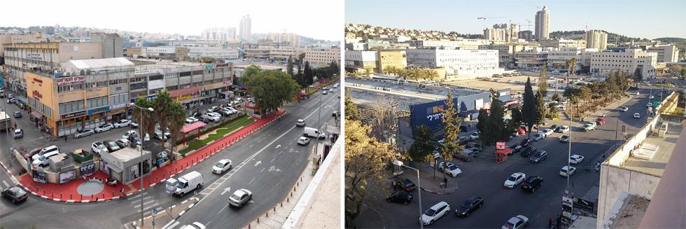 לפני ואחרי: גינה צרה וארוכה נשתלה בין רחוב הסדנה ורחוב רבקה, בין השאר השינויים (צילום: RachamimDaniel_Photo#)