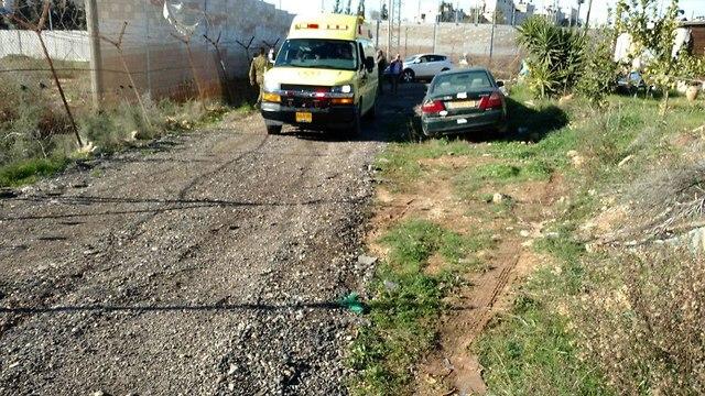 The scene of the attack in Beit El (Photo: Hadar Luz/TPS)