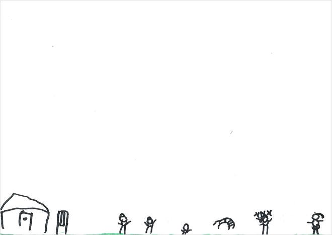 ילד שנוהג בבריונות אך הציור מראה שהוא חסר ביטחון - אלמנטים קטנים מאד בשולי הדף