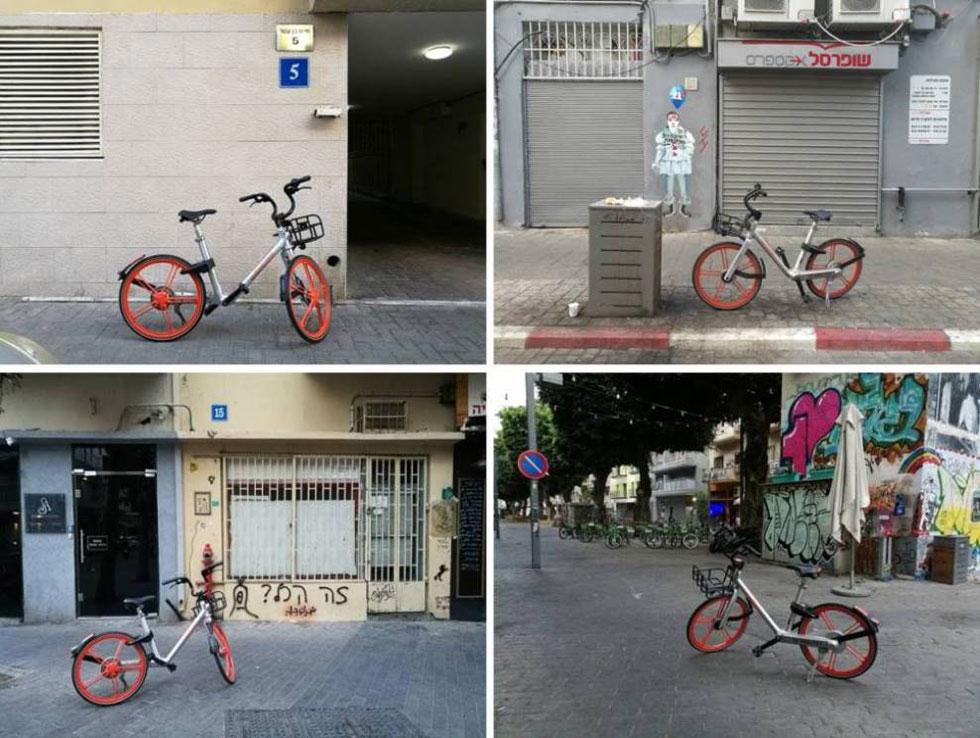 התבנית האחידה והמובהקת כל כך של האופניים הסיניים מתעתעת: לפעמים נדמה שזה אותו זוג, שצץ בכל פעם במקום אחר    (צילום: ציפה קמפינסקי)