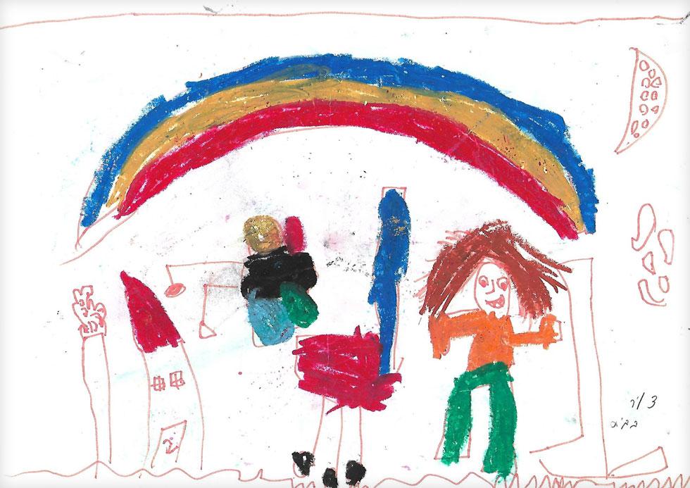 ציור של ילד שנוהג בבריונות - צביעה כוחנית, ריבוי של קווים זוויתיים. האווירה בבית מאוד כוחנית - עונשים, איומים