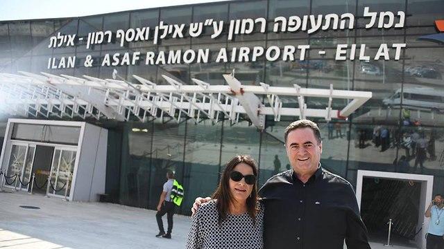 רונה רמון עם ישראל כץ (צילום: יאיר שגיא)