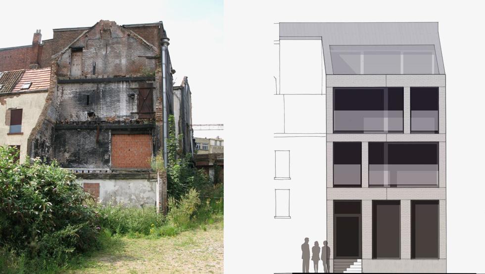 חלקו האחורי של הבניין (בתמונה משמאל) היה הרוס ממש, והאדריכל השלים את החסר - שוב, מבלי לנסות לחקות את הישן (צילום: באדיבות בארט ורהיין)