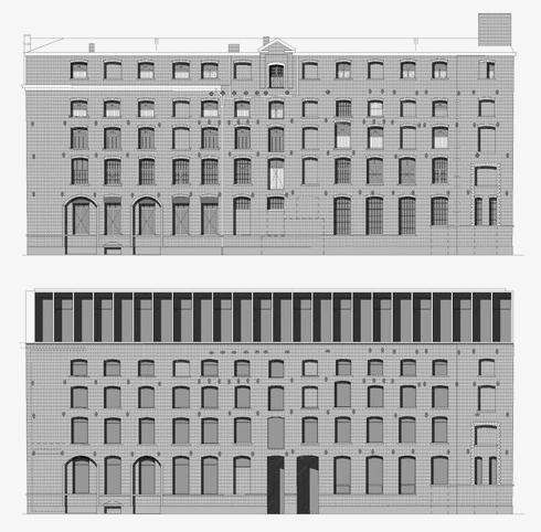 קומה חמישית שנבנתה כתוספת מאוחרת (בשרטוט למעלה) הוחלפה בקומה חדשה ושונה סגנונית (למטה) (צילום: באדיבות בארט ורהיין)