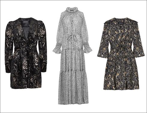 שמלת מידי פרחונית, 890 שקל; שמלת קומות בצבעוניות של שחור ולבן, 1,690 שקל; שמלת קטיפה, 1,190 שקל (צילום: עדי גלעד)