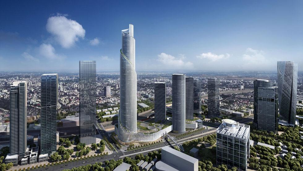 הדמית המגדל הרביעי, שהציגו הבוקר דנה עזריאלי והאדריכלים ג'יימס ון קלמפרר ומשה צור. ''יש דמיון למגדל שתוכנן בלונדון'', אמרו בתשובה לשאלת Xnet, ''אך הוא יושב עם מגדלי עזריאלי בהרמוניה. למרות הדומיננטיות שלו, הוא לא בא לגבור על הסביבה'' (הדמיה: KPF)