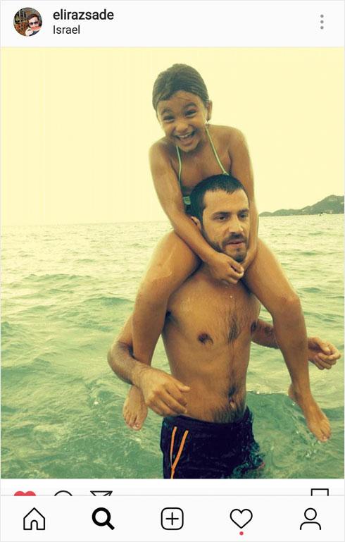 בספטמבר האחרון פרסם באינסטגרם שלו תמונה שבה הוא מרכיב את הבת אלין על כתפיו, ובירך אותה ליום הולדתה (צילום: מתוך האינסטגרם של elirazsade@)