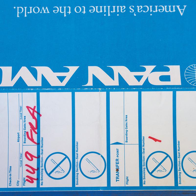 כרטיס עלייה למטוס פאן־אם שבו טסו 34 הישראלים שחולצו מאיראן