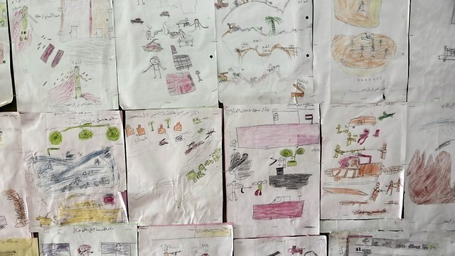 Drawings displayed at the Rehabilitation Of Children Recruited and Impacted By War in Yemen Projec