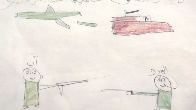 A child's drawing displayed at the Rehabilitation Of Children Recruited and Impacted By War in Yemen Project center, in Marib.