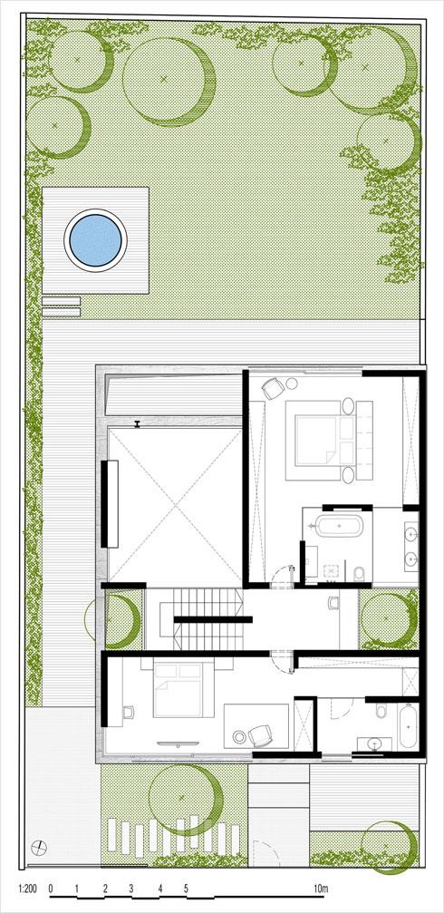 תוכנית קומת חדרי השינה   (תוכנית: בריק רווה אדריכלים)