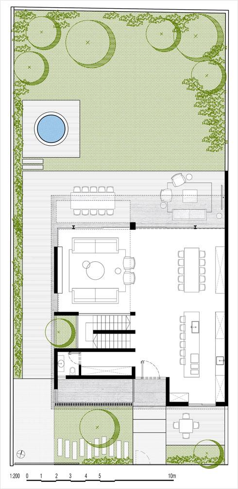 תוכנית קומת הכניסה (תוכנית: בריק רווה אדריכלים)