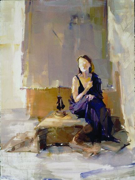 Женщина в платье цвета баклажана. Одна из прошлых картин Мааян