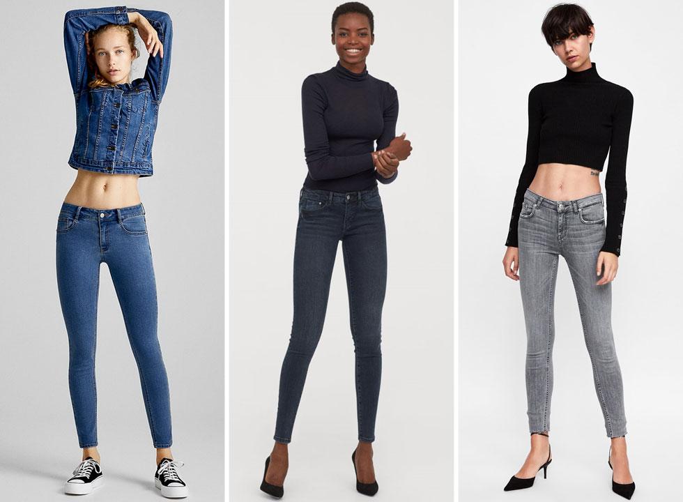 מכנסי הג'ינס הנמוכים כבר תופסים מקום ברשתות האופנה. מימין: זארה, H&M ופול אנד בר (צילום: באדיבות זארה, הנס מוריץ, באדיבות פול אנד בר)