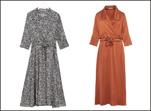 שמלת מעטפת, 1,290 שקל; שמלה בהדפס שחור ולבן, 890 שקל