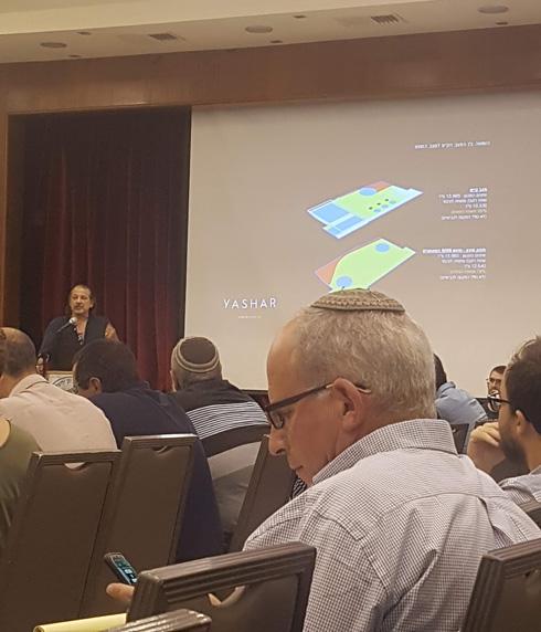 """האדריכל אבנר ישר מציג לחברי הוועדה תוכנית בסיסית מאוד של הפרויקט, בדיון שנערך ביוני בירושלים (צילום: איתי כ""""ץ)"""