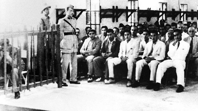 Show trial of Iraqi Jew Shafiq Ades in Basra, 1948 (Photo: Beit Hatfutsot)