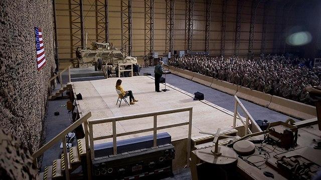 Дональд Трамп выступает перед амеркианскими военнослужащими в Ираке. Фото: AP