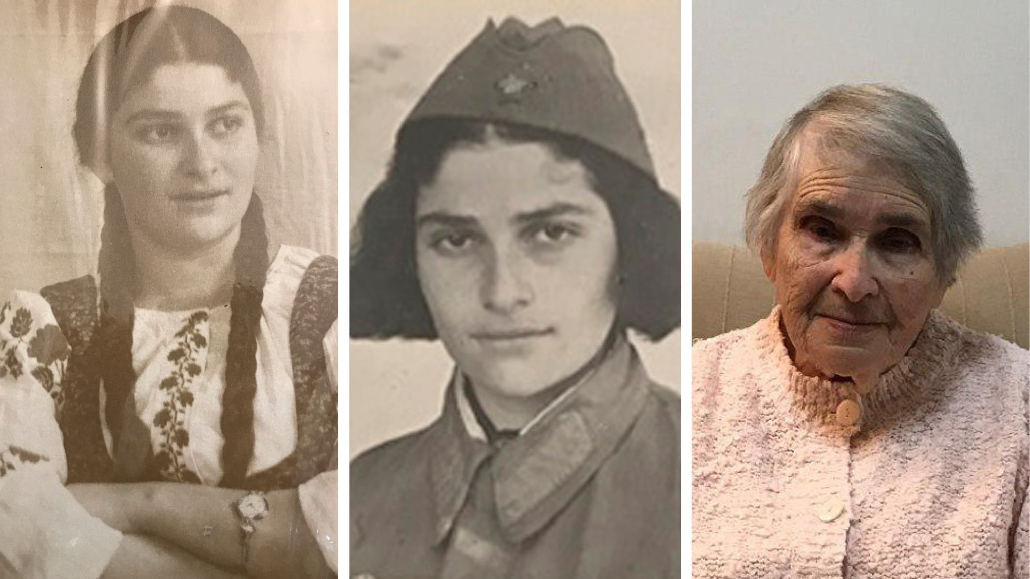 Белла Китайчик до войны, во время войны и сейчас в Израиле. Фото: личный архив; Дмитрий Мирский