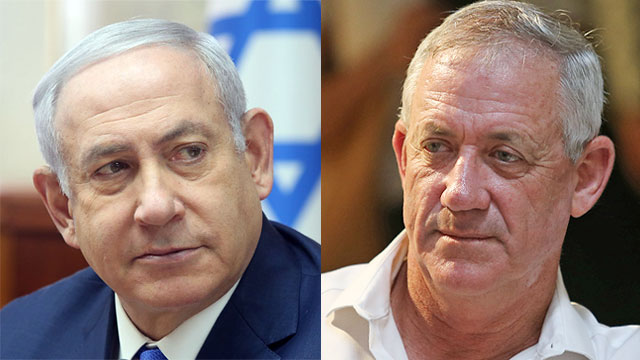Prime Minister Netanyahu; Israel Resilience Party leader Gantz (Photo: Alex Kolomoisky, Mark Israel Salem)