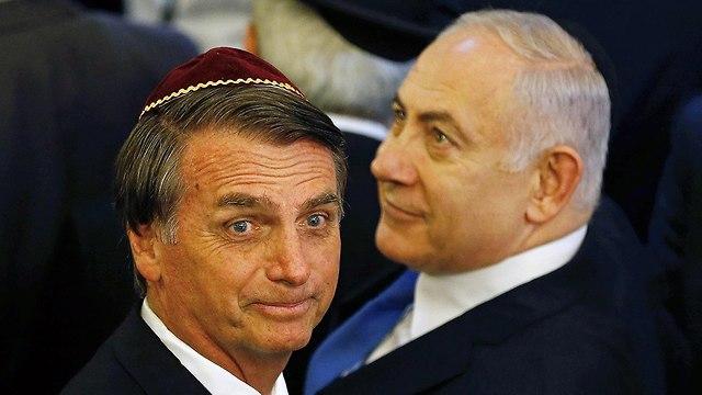Netanyahu and Bolsonaro in the local Synagogue (Photo:EPA)