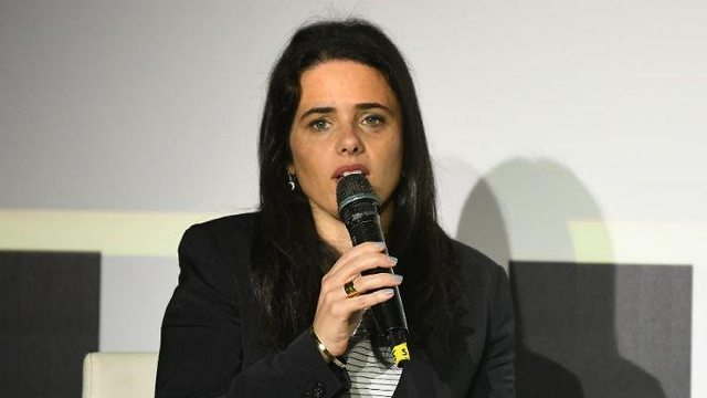 Justice Minister Ayelet Shaked speaking at Calcalist conference (Photo: Yair Sagi)