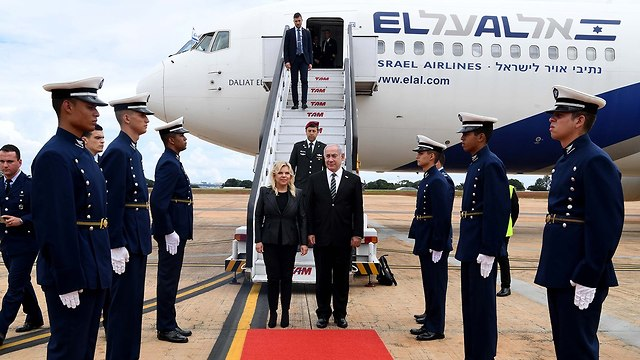 Prime Minister Benjamin Netanyahu and his wife arriving in Brasilia (Photo: GPO)