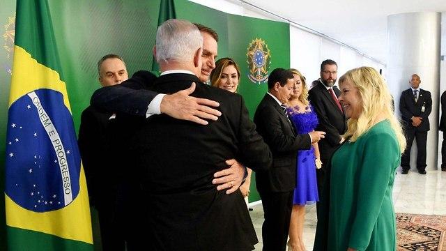 נשיא ברזיל ז'איר בולסונרו עם ראש הממשלה בנימין נתניהו (צילום: אבי אוחיון, לע