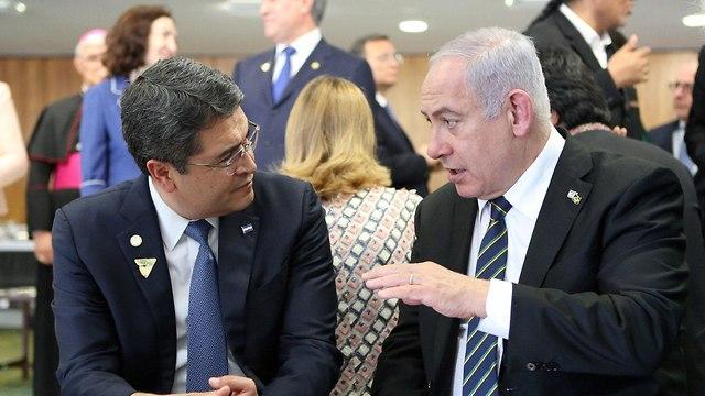 Prime Minister Benjamin Netanyahu and Honduran President Juan Orlando Hernandez  (Photo: Reuters)