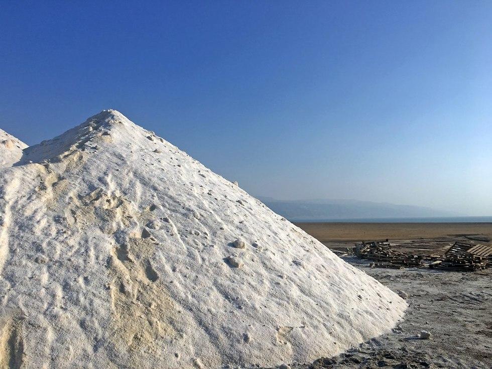 הרי מלח במפעל המלח של ג'ורג' חאלב (צילום: גלעד כרמלי)