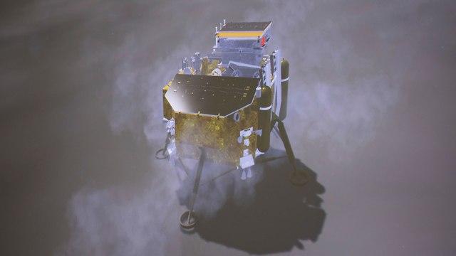 הדמיה של הנחיתה על הצד האפל של הירח (צילום: AP)