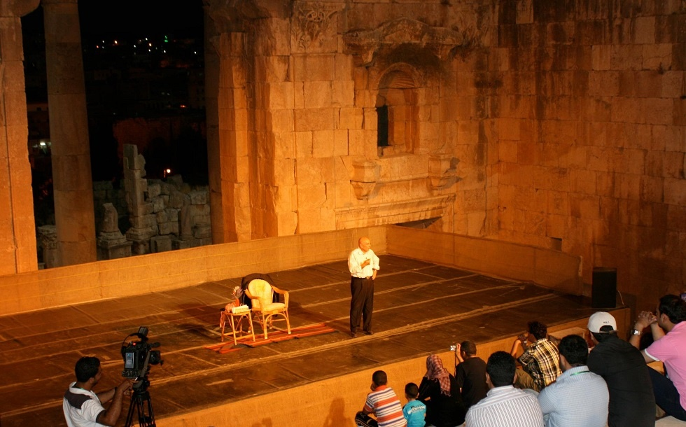 Jordanian comedian Nabil Sawalha during a performance.