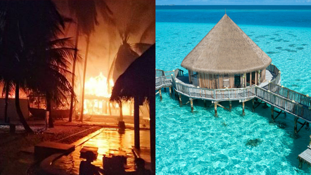 שריפה בכפר הנופש גילי לאנקאנפושי באיים המלדיביים  (צילומים: instagram / alixavadh ו-facebook / Gili Lankanfushi, Maldives)