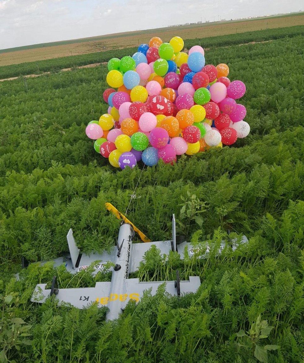 Incendiary balloons land on a plane near Gaza border