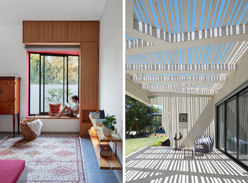 מימין: קווים אלכסוניים בפרגולת העץ מעל מרפסת הכניסה. משמאל: חלון ישיבה אלכסוני בחדר המשחקים, שמסגרתו הפנימית העמוקה נצבעה באדום (צילום: שי גיל)