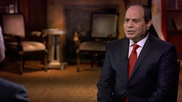 נשיא מצרים א סיסי ראיון ל-60 דקות שיתוף פעולה עם ישראל ב סיני ()