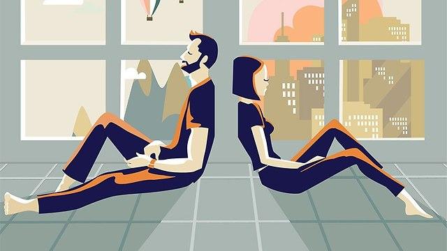 איור של זוג המצוי במריבה (צילום: Shutterstock)