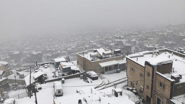 Druze village of Majdal Shams covered in snow