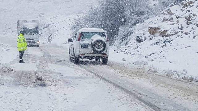 Snow in Golan Heights (Photo: Israel Police)