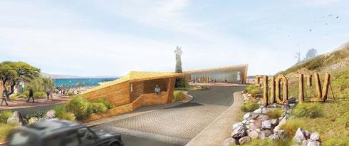 החלק הדרומי של ''עין סוף'' יתחיל בחוף אלמוג ויסתיים במעבר טאבה (באדיבות מייזליץ כסיף אדריכלים)